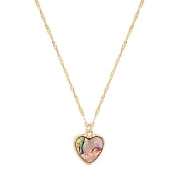Faux Shell Heart Pendant Necklace