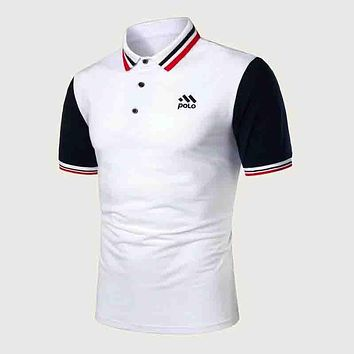 Fashion Casual Men Contrast Panel Stripe Trim Polo Shirt