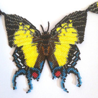 Hand Beaded Butterfly Necklace with Haematite Beads