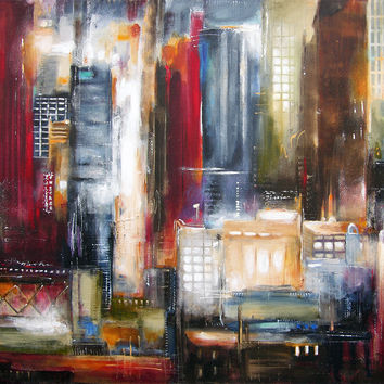 """Chicago Painting- """"In the Loop - Chicago at Night"""" - 36"""" x 48"""""""