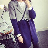 Stylish Color Block Knitted Long Sleeve One-Button Cardigan