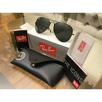ORIGINAL RAY BAN AVIATOR 3025 BLACK LENS BLACK FRAME 58 MM SIZE LARGE METAL