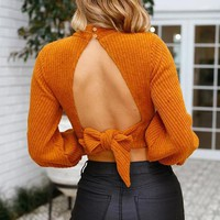 Hollow Out Turtleneck Knitted Sweater Women Sexy Backless Bow Tie Crop Top Autumn Winter Casual Pullover Female Knitwear Clothes