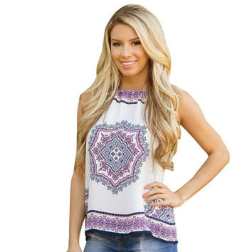 New  Style Women Sexy Tank Tops Sleeveless Boho Print Strappy Casual Tank Tops Ladies #421 GS