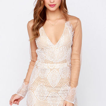 Beautiful Mesh Tan and Ivory Lace Dress