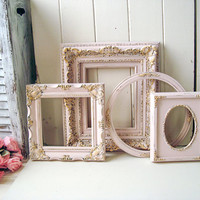 Blush Pink Nursery Frames, Pink and Gold Ornate Picture Frames, Shabby Chic Painted Frames, Oval Ornate Frames, Baby Shower, Wedding Decor