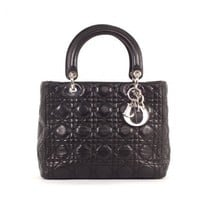 Christian Dior Black Quilted Leather Classic Cannage Lady Dior Bag | Portero Luxury