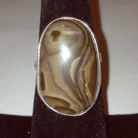 Striated Brown Agate Sterling Ring Size 7 Silver Brown Stone 925 Handmade Vintage Southwestern Jewelry Christmas Mother's Gift  Cocktail