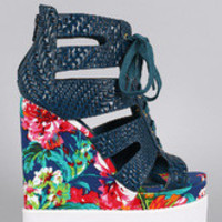 Women's Privileged Caged Floral Wedge