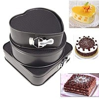 Set of Three Springform Cake Mould Baking Pans