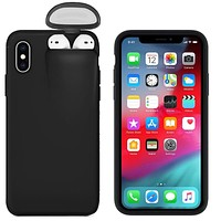 BLACK CASE FITS Apple iPhone MODELS 6 thru 11 PRO MAX Plus Cover For AirPods Earphone Holder Hard Case FREE SHIPPING
