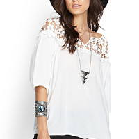 FOREVER 21 Floral Crochet Peasant Top White