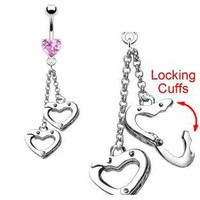 Body Accentz® Belly Button Ring Navel Heart Handcuffs Body Jewelry 14g Gauge HO253