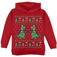 DCCKJY1 Tree Rex T Rex Ugly Christmas Sweater Toddler Hoodie