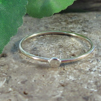Stacking Ring Gold Plain with Silver Dot