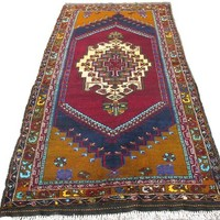 "Medallion Design Handmade Oushak Rug, Tribal Rug, Burgundy Carpet, 263x143 cm 103x57 inches 8'7""x4'9""  Free Shipping"