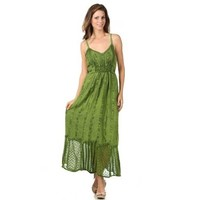Sakkas Stonewashed Empire Waist Floral Vine Crepe Patchwork Hem Dress