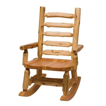 Comfortable Cedar Rocking Chair with Log Backrest Wood Seat