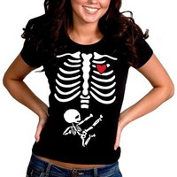 Pregnant Ninja Skeleton Girl's T-Shirt #B374