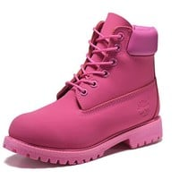 Best Deal Online Timberland 10061 Leather Lace-Up Boot Men Women Shoes Pink