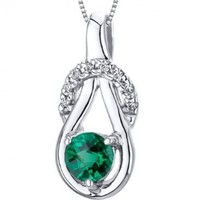 Simulated Emerald Round Shape Pendant Sterling Silver Rhodium Nickel Finish