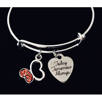 Today Tomorrow Always Child Size Adjustable Charm Bracelet Butterfly Children's Jewelry Expandable Silver Bangle Young Girl's Tween Jewelry Gift Kids Size