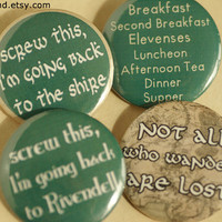 Hobbit Pinback Buttons Lord of the Rings Pins by MonsterBrand