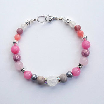 Coral and silver beaded bracelet | pink gemstone toggle bracelet | frosted gemstones | silver accents | gift for her