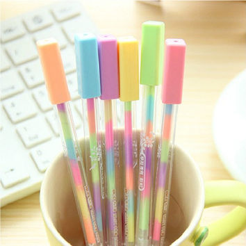 New Arrival! 1 piece 6 colors in one pen, candy color highlighter pen for DIY scrapbook, painting, drawing, writing, sign