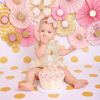 Gold Sequin and Lace Infant Romper