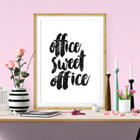 Office Sweet Office, Motivational Poster, Inspirational Print, Printable Art, Watercolor, Office Wall Art, Scandinavian Design, Office Decor