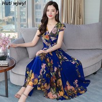 2019 Elegant Floral Chiffon Boho Dresses Summer New Vintage 4XL Plus Size Print Beach Maxi Sundress Women Bodycon Party Vestidos