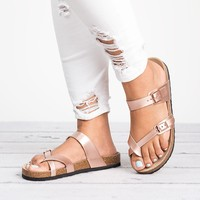 Criss Cross Rose Gold Footbed Sandals
