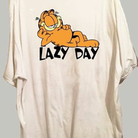 Lazy day garfield tshirt cartoon cat lazy cute
