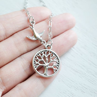 Silver Tree Necklace,Tree of Life Necklace,Bird Jewelry,Leaf Lariat,Leaf Branch Pendant,Silver Tree Necklace,Nature,Bird Necklace,Bridesmaid