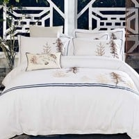 Coastal Cottage, Lake House, Yacht Master Bedroom. Five Star Hotel Quality Bedding. 100% cotton satin luxury bed linen. Duvet cover, pillow shams.  Beautiful embroidery