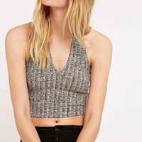 Sparkle & Fade Plunge Rib Halterneck Top - Urban Outfitters