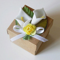 25 rustic Calla Lily kraft favor box, wedding, bridal shower, baby shower rustic candy or gift box.