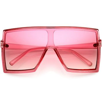 Go Pink! High Fashion Color Tinted Lens Flat Top Square Sunglasses D131
