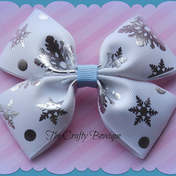 Frozen Inspired ~ Boutique Hair Bow ~ Silver, White & Blue Snowflake ~ Snowflakes ~ Winter Hair Bow ~ Big Hair Bow ~ Bow for Headband