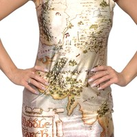 Middle Earth Map Sleevless Mini Dress Design 3037