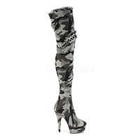 "Delight 3005 Stretch Camo Denim 6"" High Heel Thigh Boots"