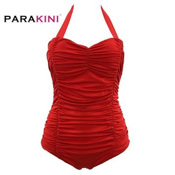 PARAKINI 2018 New Women One Piece Swimsuit Halter Monokini Push Up Padded Bra Swimwear Print Plus Size Swimwear Retro Swimwear