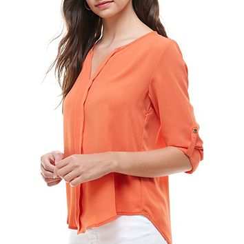Lightweight Solid V Neck Long Sleeve Loose Chiffon Blouse Top