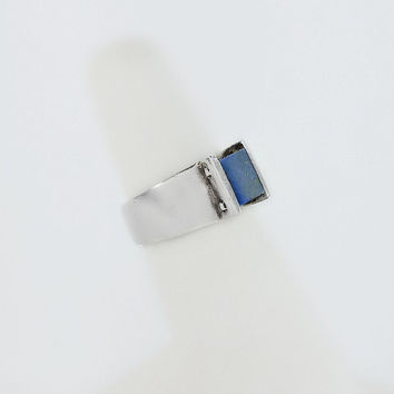 Blue Lapis Ring - Chunky Sterling Ring Size 4.75 - Square Lapis Ring - Blue Lapis Lazuli Cabochon Ring - Thick Sterling Blue Stone Ring