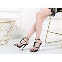 YSL Fashion Trending Leather Women High Heels Shoes Women Sandals Heel
