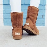 UGG Winter Classic Popular Women Men Warm Wool Fur High Snow Boots Shoes Brown I/A
