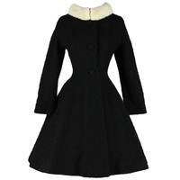 Vintage 1950's Lilli Ann Wool Boucle Mink Collar Princess Coat