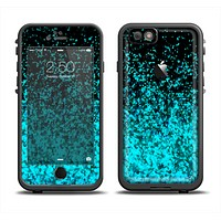 The Black and Turquoise Unfocused Sparkle Print Apple iPhone 6 LifeProof Fre Case Skin Set