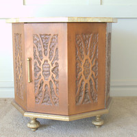 Carved Wood Octagonal End Table with Capiz Shell Top, Unique Vintage Moroccan Wood Coffee Table, Retro 1960s Storage Table